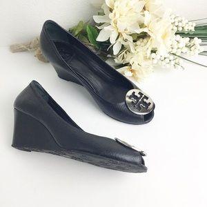 TORY BURCH Sally Peep Toe Wedge Black Leather